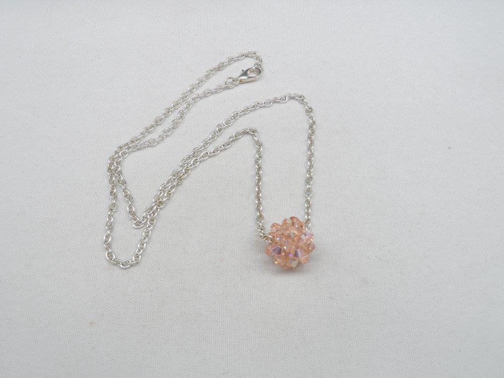 n°79 collier pendentif boule en cristal de swarovski  rose n°8