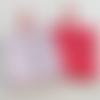 N°7  2 lingettes  démaquillantes lavables une face coton coeurs  fond blanc une face éponge rouge
