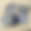 """N°8 """"coffret bébé"""" comprenant bavoir , lingettes, anneau lapin, attache sucette couleurs bleu marine"""