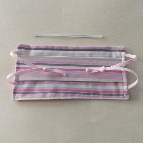 N°56 masque enfant en tissu 2 couches cotons pince nez incorporé rayures rose beige  envers rose