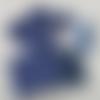 """N°8 """"coffret bébé"""" comprenant bavoir , lingettes, anneau lapin, attache sucette motif cœur couleurs bleu marine"""