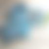 """N°8 """"coffret bébé"""" comprenant bavoir , lingettes, anneau lapin, attache sucette couleur bleu blanc"""