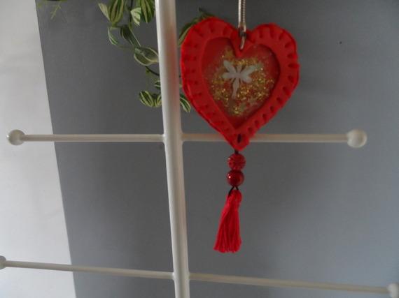 n°43 porte clé cœur rouge en mousse pour Saint Valentin
