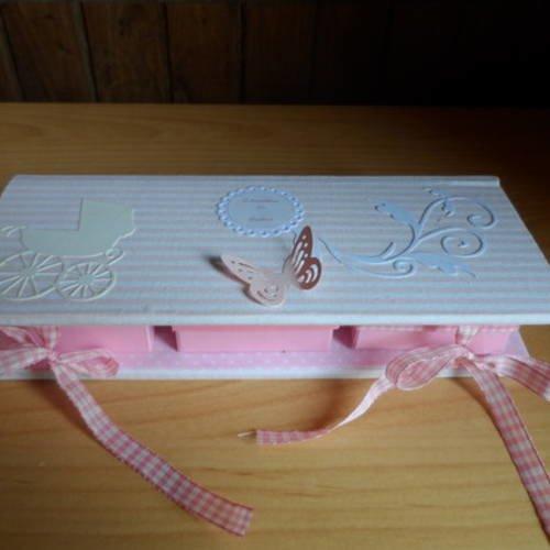 N°93 boite souvenirs de naissance bébé fille rose