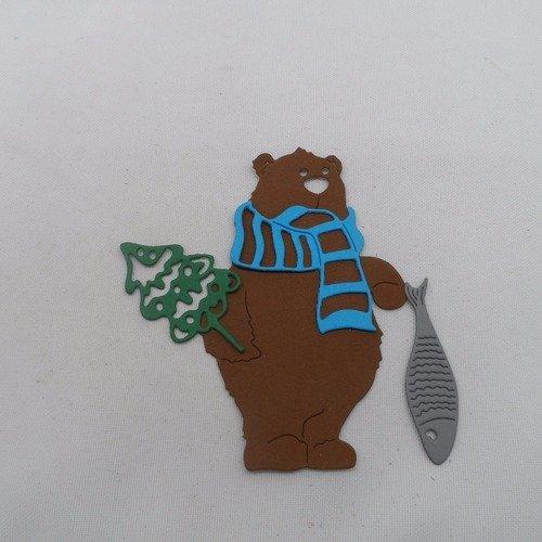 0 n°883  ours avec une écharpe un poisson et un sapin en papier  marron, bleu gris et vert
