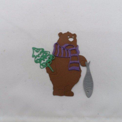0 n°883  ours avec une écharpe un poisson et un sapin en papier  marron, violet  gris et vert