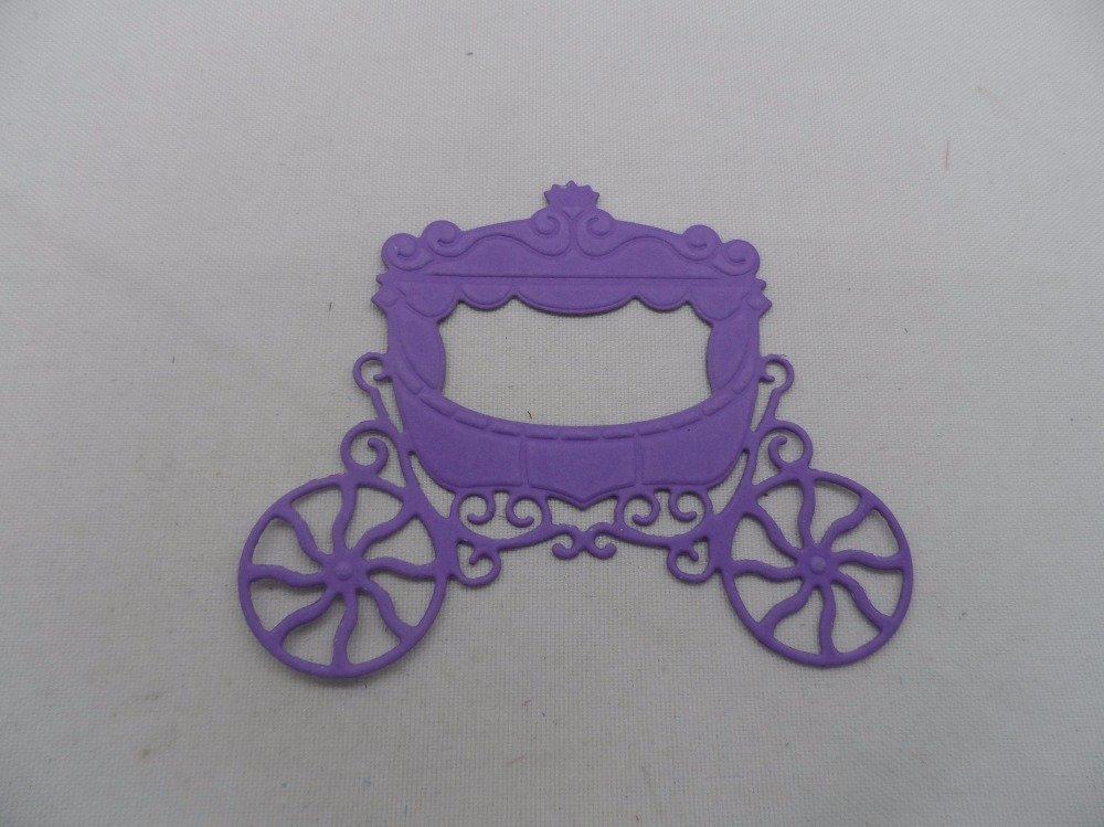 n°214  d'un carrosse   en papier violet n°2 découpage  fin et gaufrage