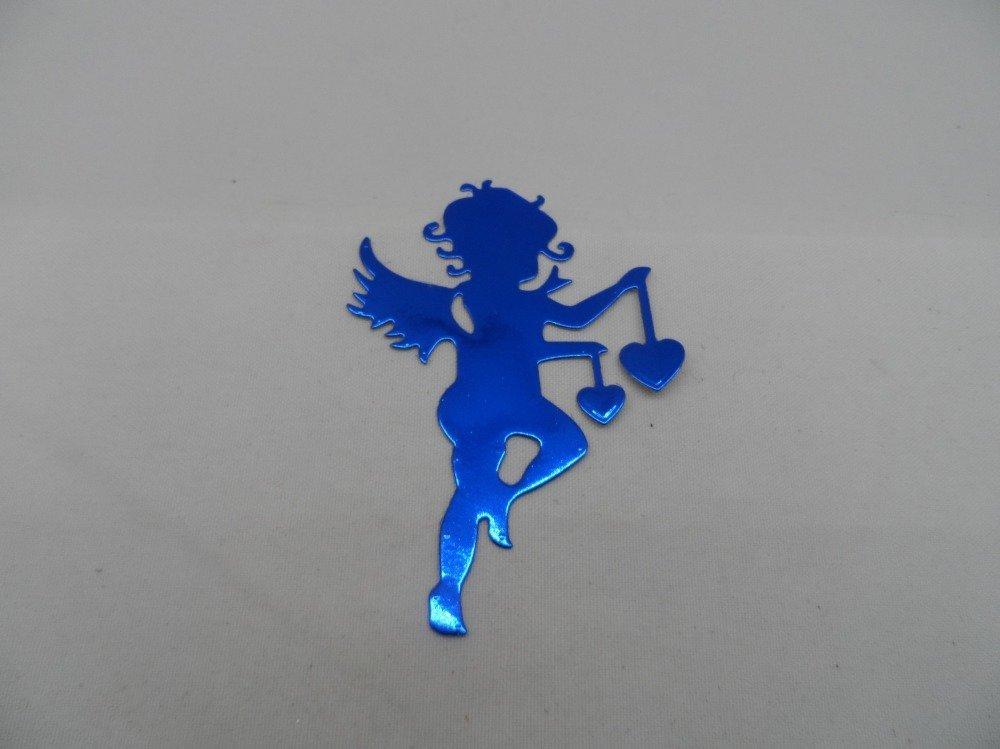 n°949 de Cupidon ange avec deux cœurs   en papier  métallisé bleu  embellissement