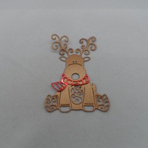 N°952  un beau renne avec une écharpe  en papier cuivré et rouge métallisé