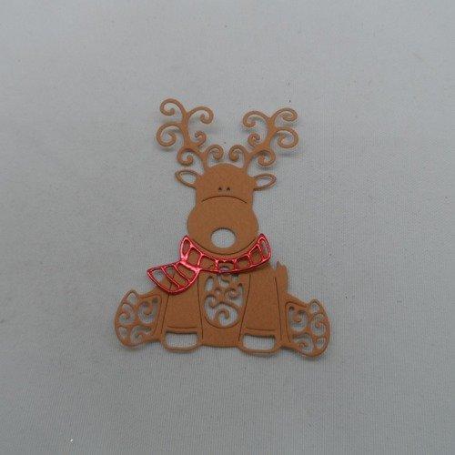 N°952  un beau renne avec une écharpe  en papier marron et rouge métallisé