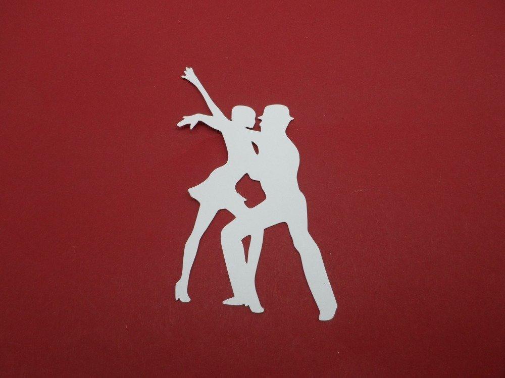 n°1192 couple de danseurs (homme chapeau)  en papier blanc   découpage fin