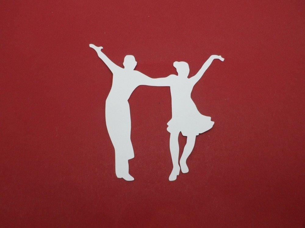n°1193 couple de danseurs   en papier blanc   découpage fin