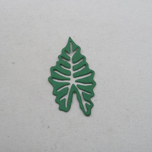 """Lot  10 grandes feuilles /""""squelette/"""" VERT FONCE"""