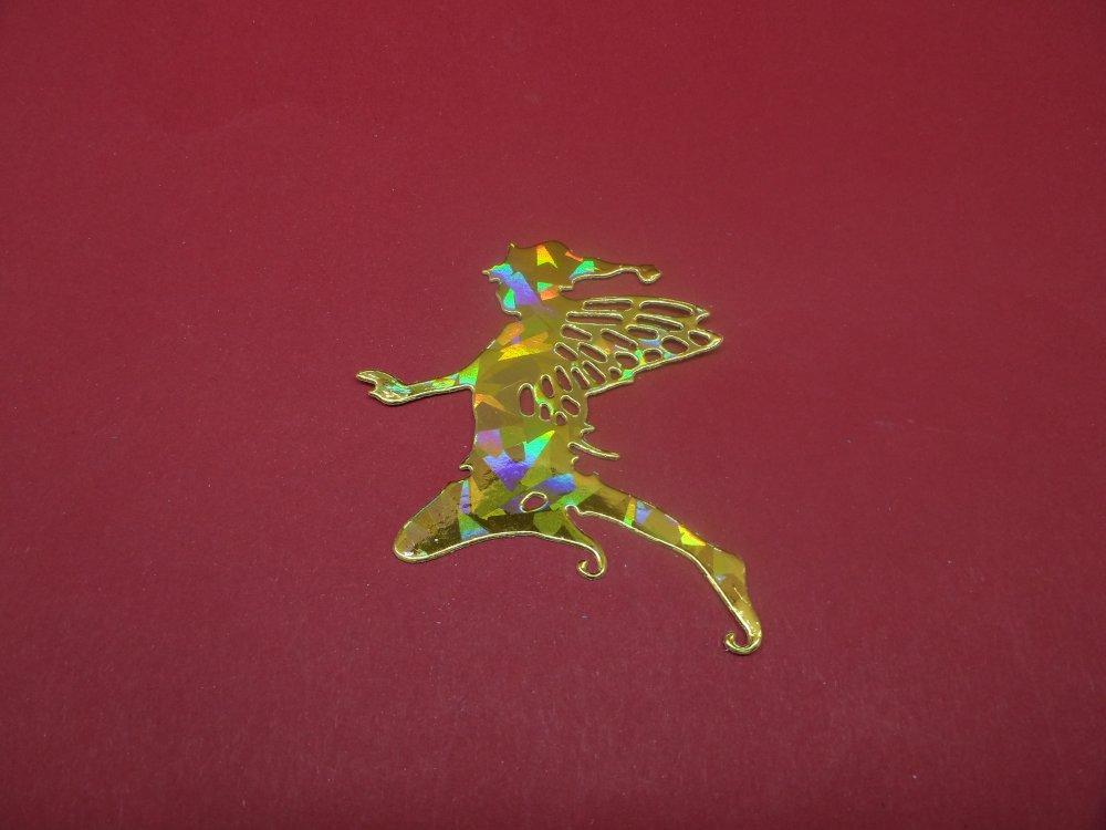 """n°1324 un """"lutin  papillon"""" n°2  arabesque    en papier doré hologramme découpage fin"""