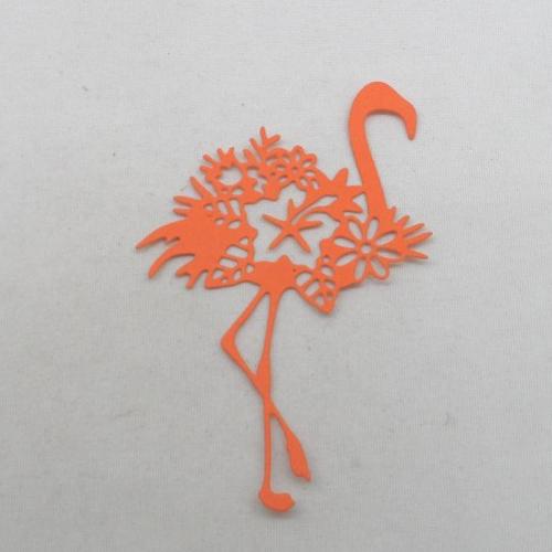 N°1336   joli flamant  avec une fleur   en papier orange n°1