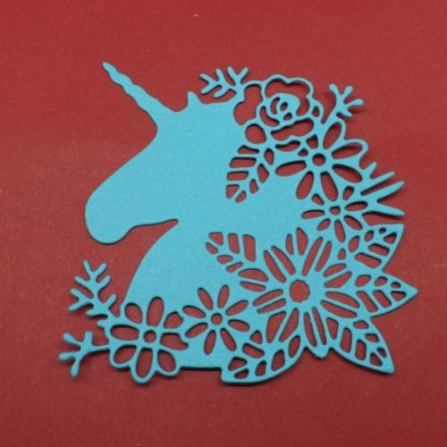 N°1328 tête de  licorne avec des fleurs en papier bleu turquoise n°2