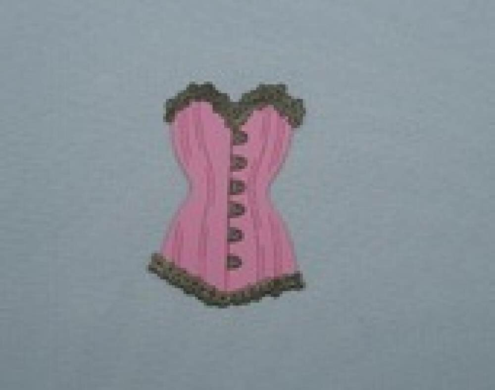 n°52 d'un corset bi-couleur en papier   rose  et cuivré  découpage fin