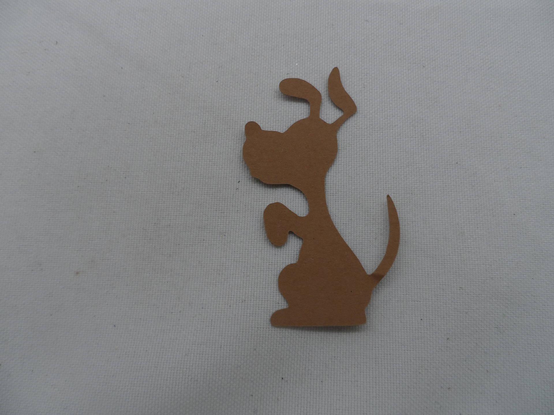 n°836  petit chien   en papier marron n°2  découpage fin
