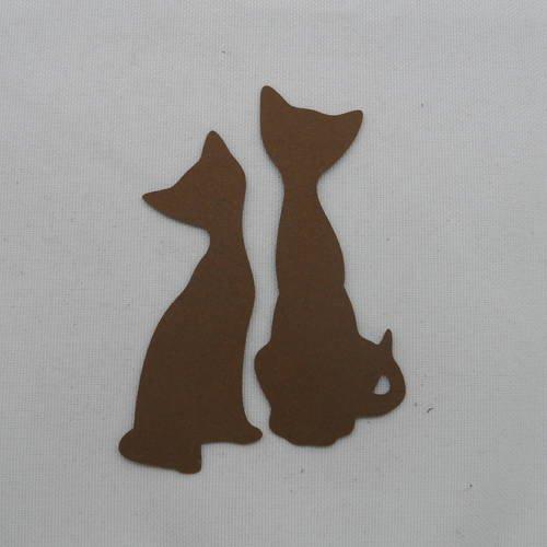 """N°462   de deux chats """" amoureux"""" en papier marron foncé  découpage"""