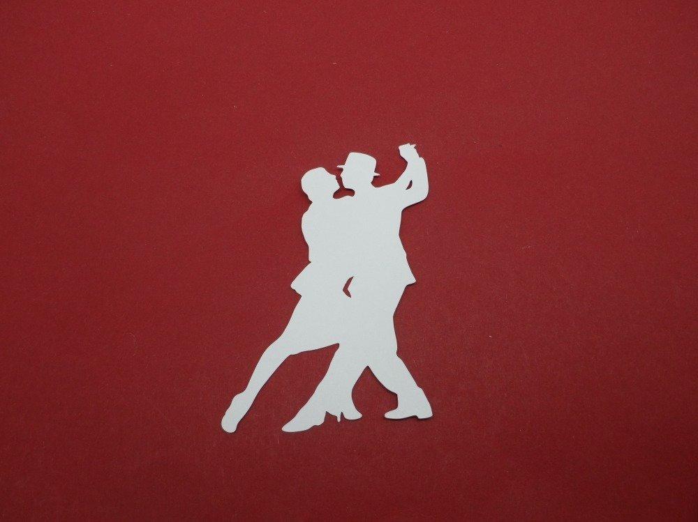 n°379 d'un couple de danseur  de tango  en papier blanc découpage  fin