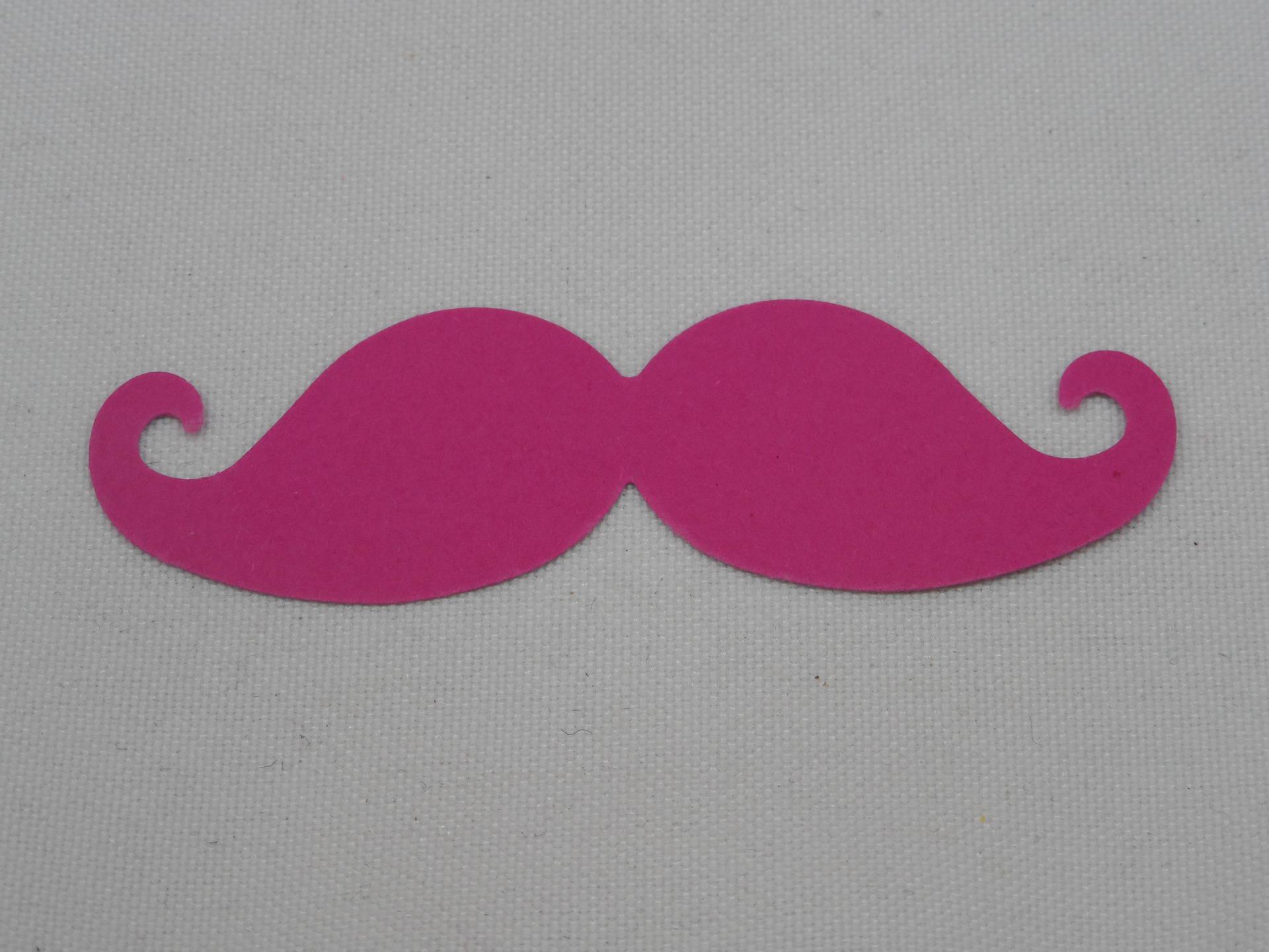 n°359 moustache en papier fuchsia pour  embellissement