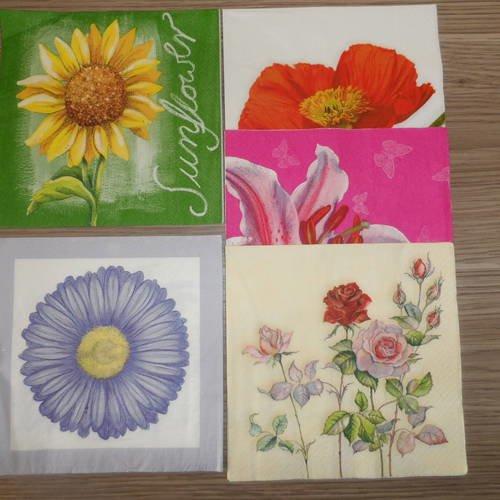 Lot de 2 Serviettes en papier Fleur Tournesol Papillon Decoupage Collage