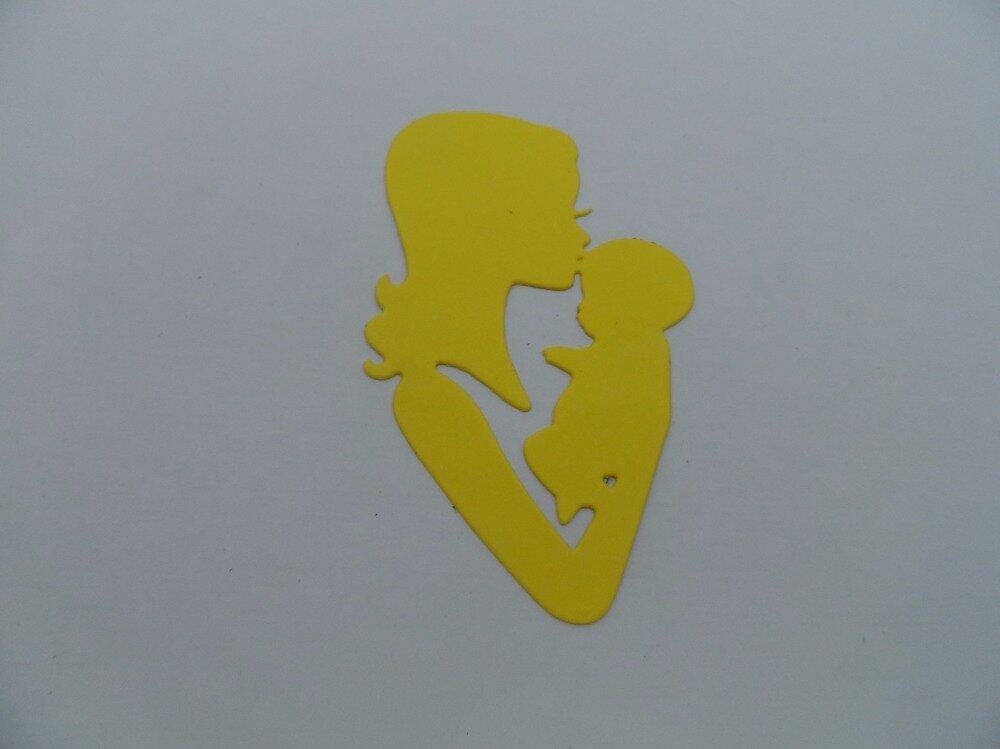 n°876  Maman et son bébé  en papier jaune