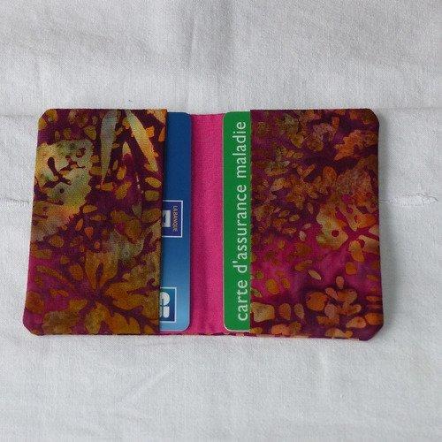 Porte-cartes en tissu batik original