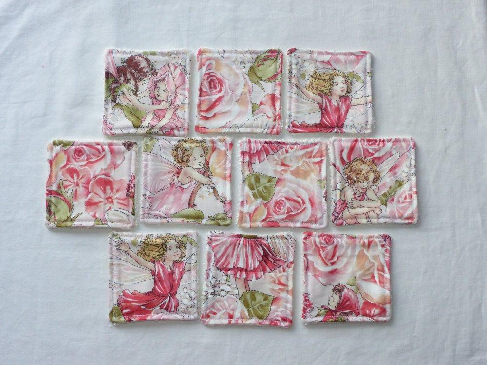 Lingettes réutilisables en tissu original Elfes, fées et panier de rangement