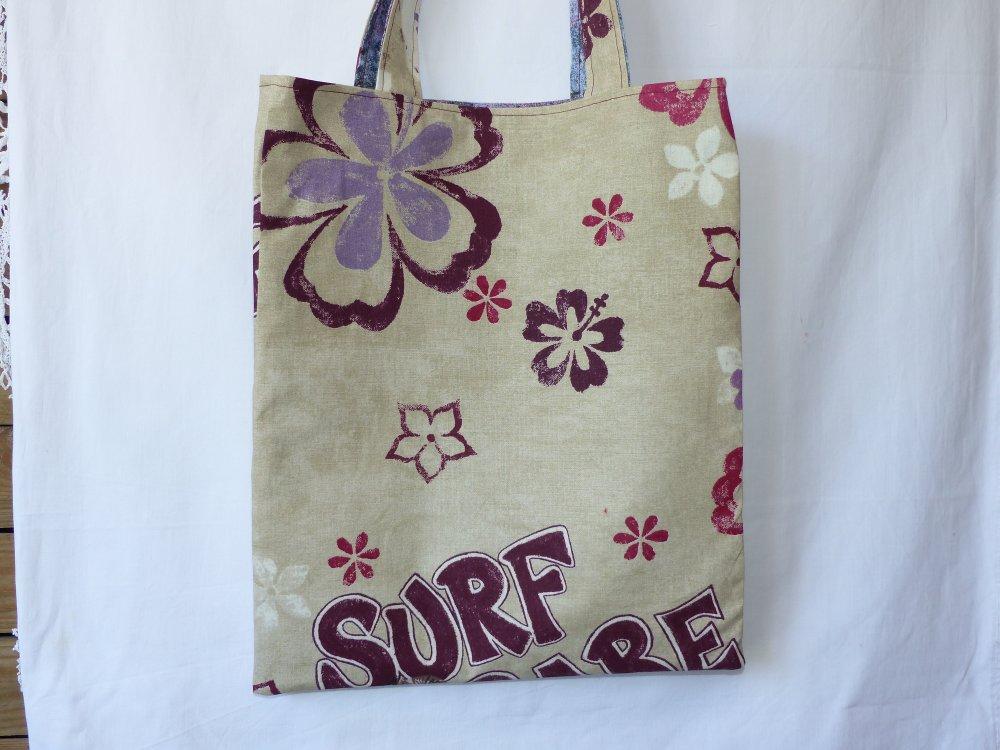 Sac tote bag doublé grandes anses en tissu original surf
