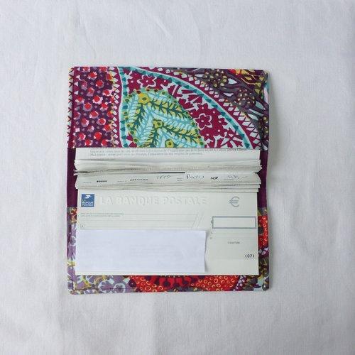 Porte-chéquier en tissu original coloré, protège chéquier