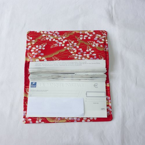 Porte-chéquier en tissu japonais, rouge vagues dorées