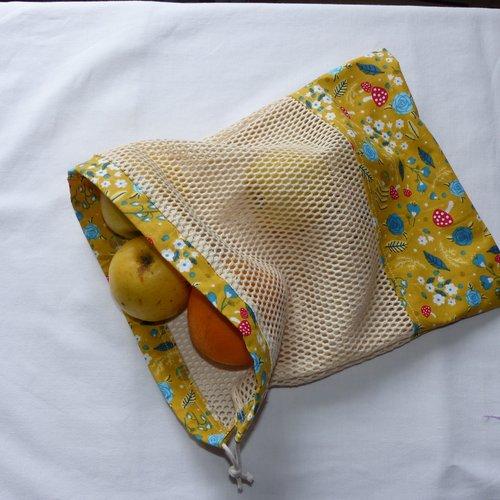 Sac à vrac, sac à légumes, sac à fruits en coton et filet en coton bio