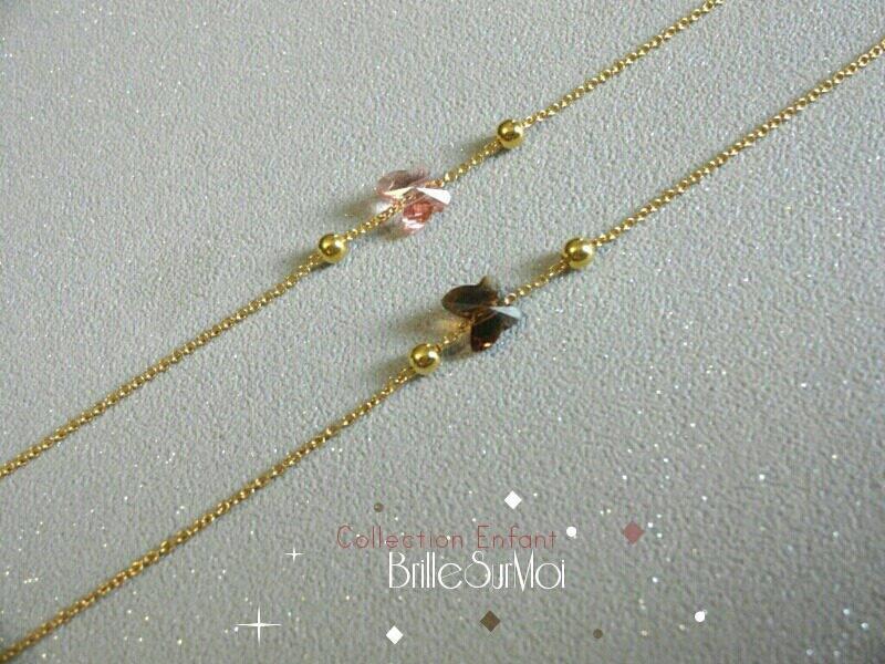 BRACELET ENFANT  Gold filled or 14K Papillon Cristal swarovsky