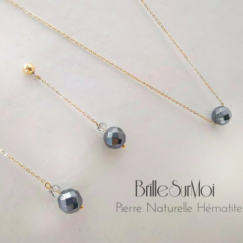 Parure collier et boucles d'oreilles gold  filled or 14k  et perle naturelle hématite et  mini-perles cristal swarovski