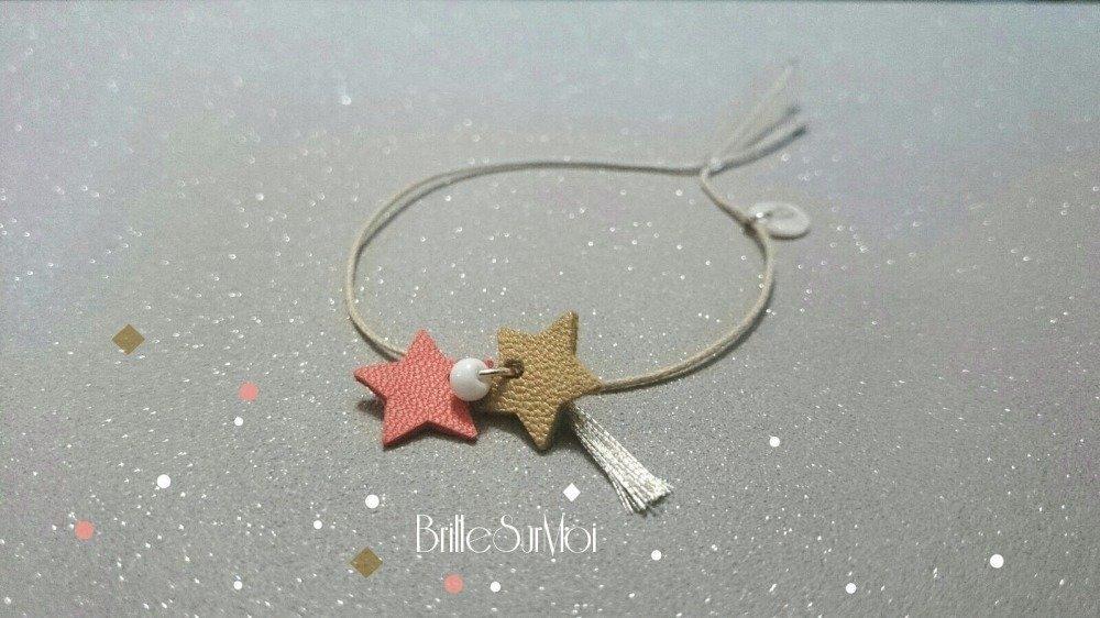 Bracelet cordon Breloque Gri-Gri coeur cuir, Pompom ; Rocaille BrilleSurMoi
