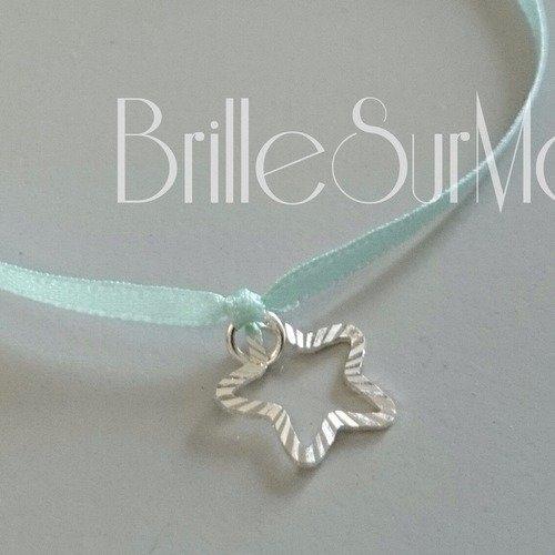 Bracelet ruban étoile argent 925 brillesurmoi