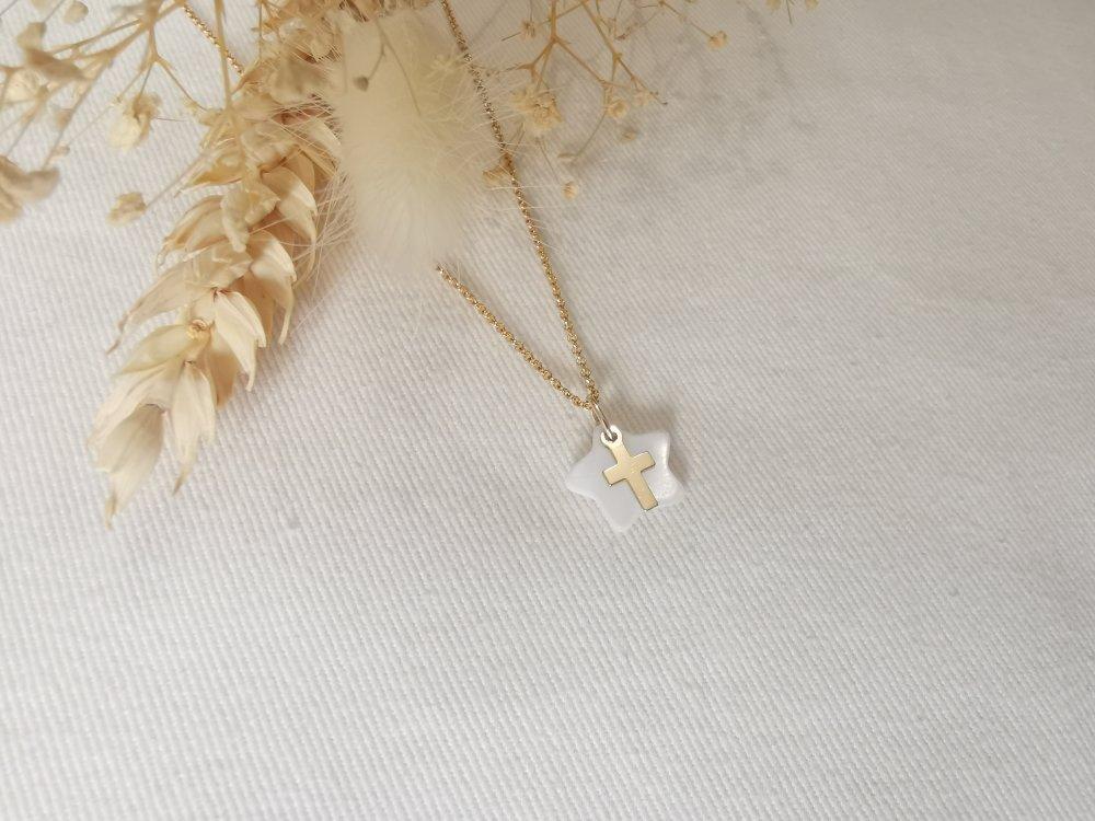 Collier BAPTÊME /COMMUNION Plaqué or Gold filled Or 14k Étoile Nacre BrilleSurMoi