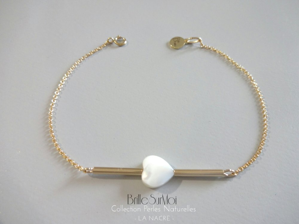 Bracelet  Gold Filled Or 14 K Nacre naturelle blanche  BrilleSurMoi