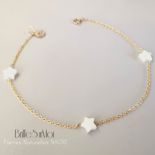 Bracelet  gold filled or 14 k étoile nacre naturelle blanche  brillesurmoi