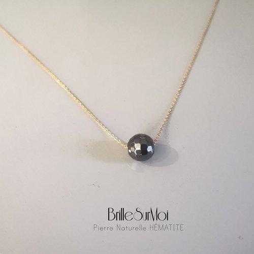 Collier gold filled or 14k perles boule à facette hematite brillesurmoi