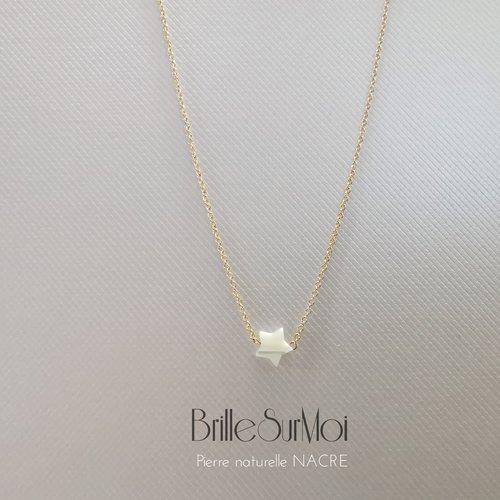 Collier  or 14k gold filled etoile nacre brillesurmoi