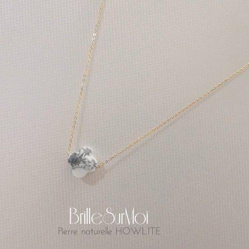 Collier gold  filled or 14k  et perle naturelle howlite