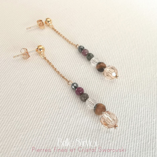 Boucles d' oreilles ~la vertueuse~ gold filled or 14k cristal swarovski et pierres naturelles