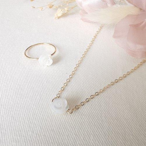Collier et bague  gold  filled or 14k  pierre naturelle rose  nacre