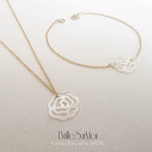 Collier et bracelet  gold  filled or 14k  pierre naturelle rose  nacre