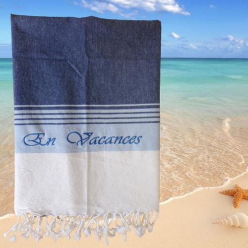Fouta brodée et personnalisée, serviette de plage, serviette de toilette