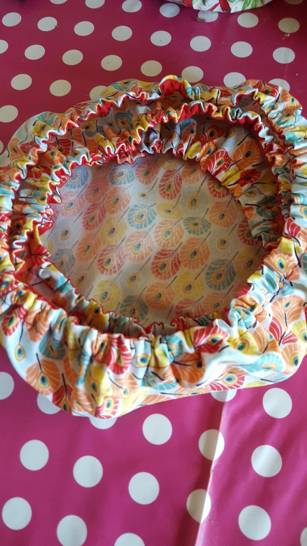 Lot de 3 couvre-plats en coton enduit Plumes de paon multicolores tailles S, M et L