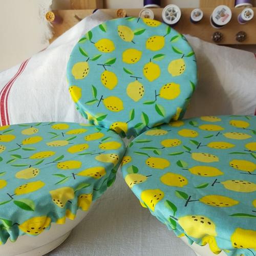 Lot de 3 couvre-plats en coton enduit citrons taille s, m et l