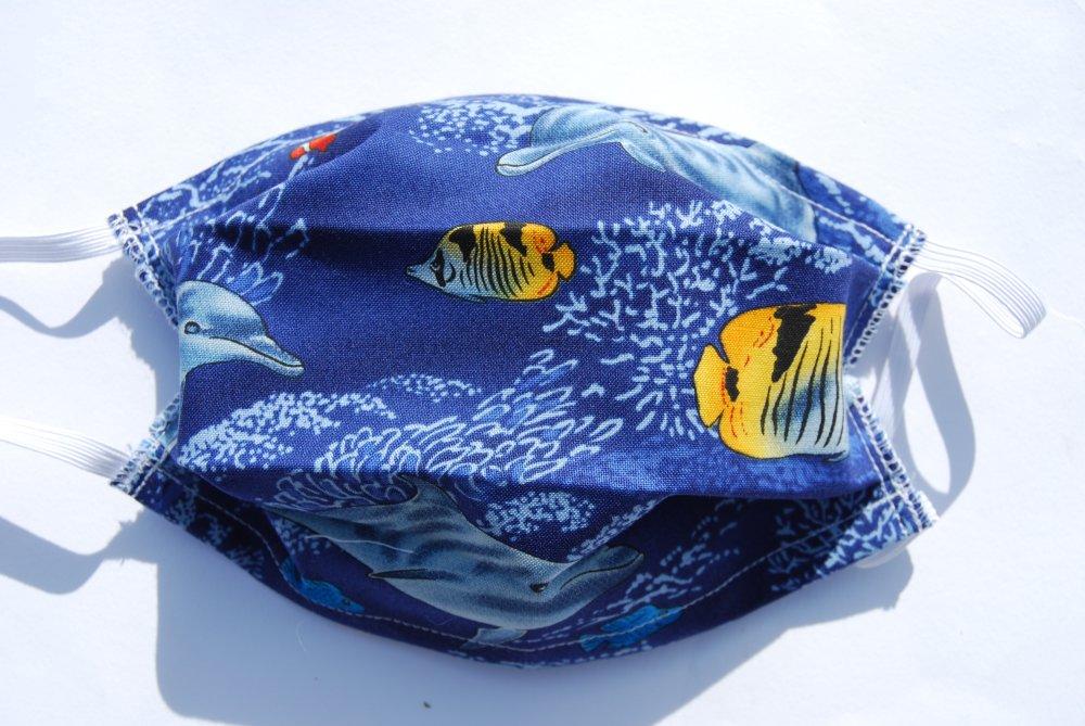 Masque Barrière lavable en tissu- motif M30 Poissons- Taille enfant